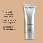 It removes makeup and impurities, minimizes pores and suitable for all skin types.
