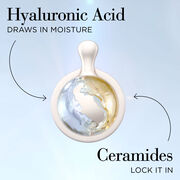 Hyaluronic Acid draws in moisture, Ceramides Lock It In