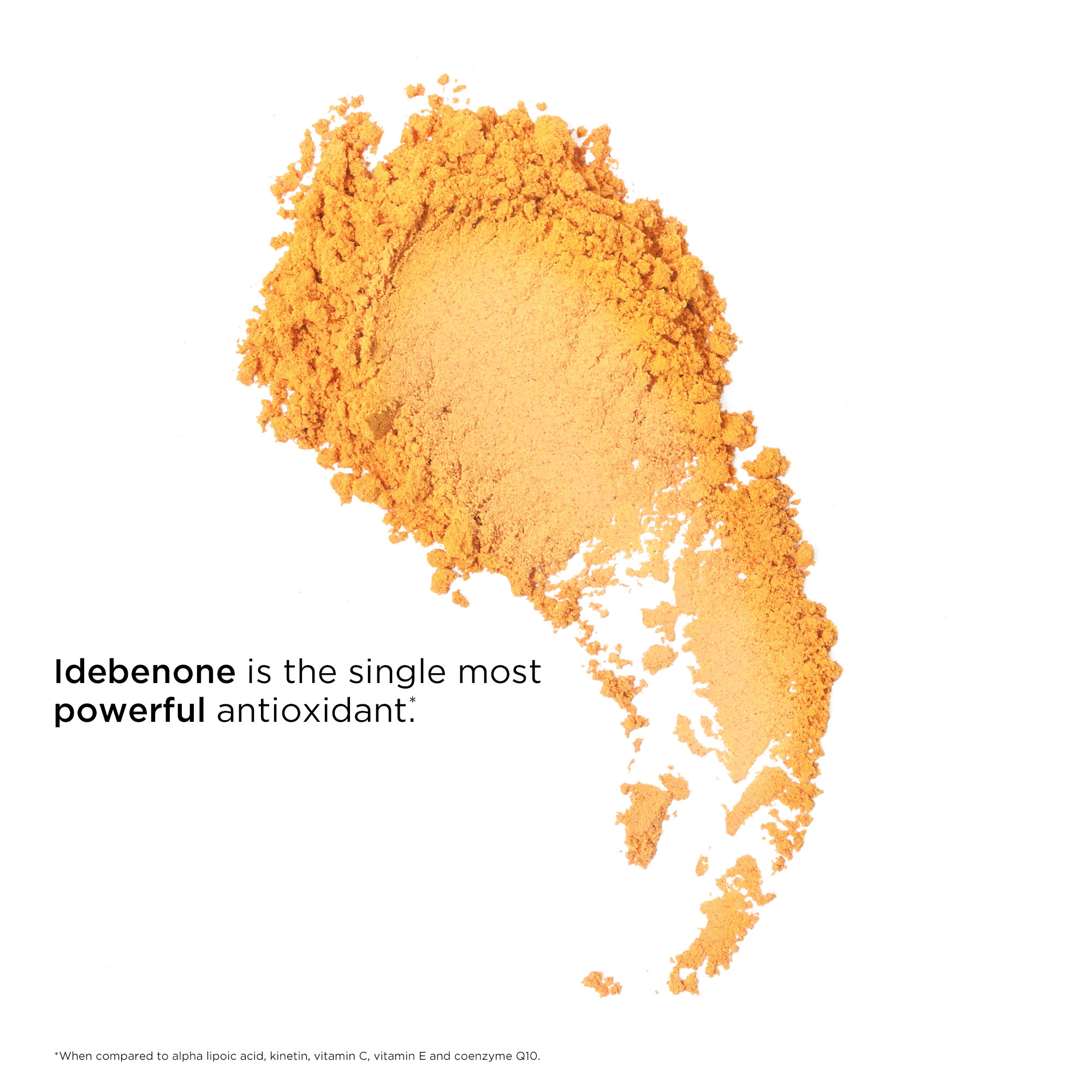Idebenone is the single most powerful antioxident when compared to alpha lipoic acid, kinetin. Vitamin c, vitamin e, and coenzyme Q10.