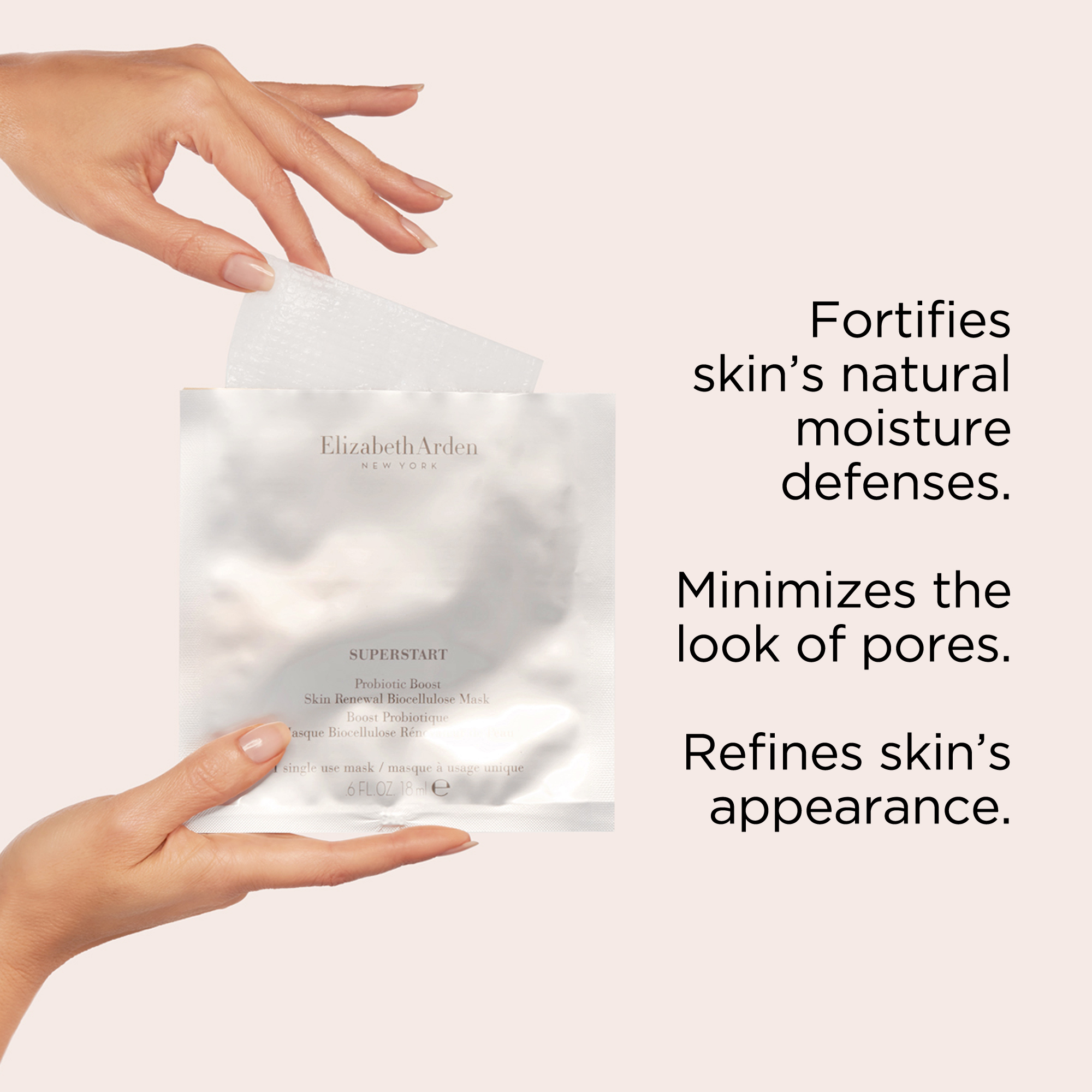 It fortifies skin's natural moisture defenses, minimizes pores and refines skin's appearance.